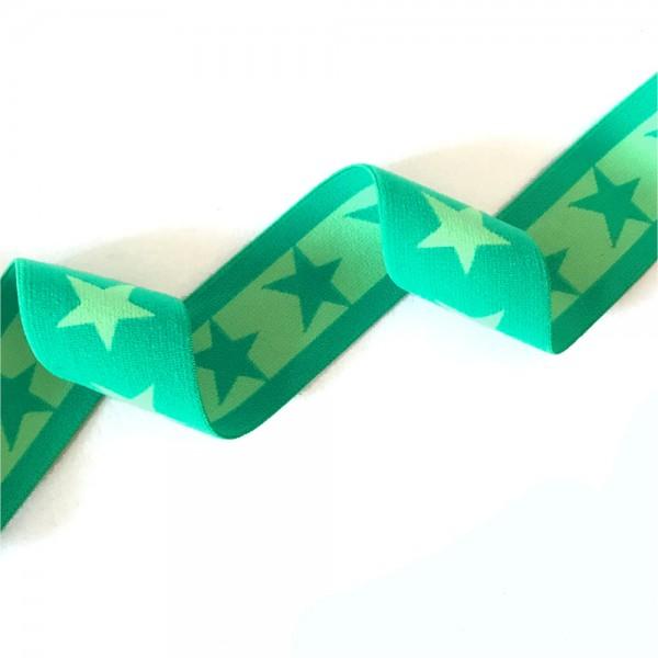 Gummiband BREIT Sterne, 4cm, dunkelgrün-hellgrün